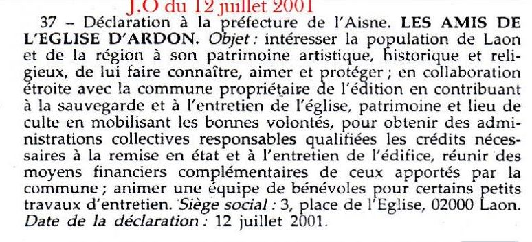 extrait Journal Officiel 2001